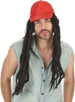 Rode pet met dreadlocks pruik voor mannen - Verkleedpruik