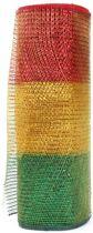Rol tule rood/geel/groen brede streep 26cm x 9,14m