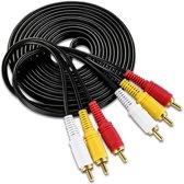 Tulp Naar Tulp Verlengkabel - 3x RCA Male To 3x RCA Male Extension Cable - AV Composietkabel - Composiet Verlengsnoer - 10 Meter