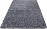 Hoogpolig shaggy vloerkleed 160x230cm grijs - 5 cm poolhoogte