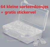 Diamond Painting Sorteerdoos  - vakjes sorteer doos - opbergdoos - hobby en bewaar doos TH Commerce® - met 64 doosjes en gratis sticker vel nr 7068