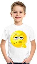 Smiley/ emoticon t-shirt bedenkelijk wit kinderen XL (158-164)