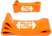 Weerstandsband Oranje 208cm - 80kg - 8.3cm breed - Fitness - Set - Elastiek weerstandsband - Weerstandskabel - Resistance Power Band Tube - Fitnessbanden