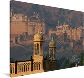 Het vroege ochtendlicht over het Fort Amber in India Canvas 30x20 cm - klein - Foto print op Canvas schilderij (Wanddecoratie woonkamer / slaapkamer)