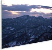 Het Moiwa gebergte vlak na zonsondergang in het Japanse Sapporo Plexiglas 30x20 cm - klein - Foto print op Glas (Plexiglas wanddecoratie)