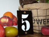 Emaille huisnummer zwart 8x12 nummer '5'