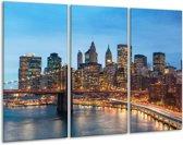 Glasschilderij Brug | Blauw, | 120x80cm 3Luik | Foto print op Glas |  F005734