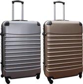 2 delige ABS kofferset 95 liter zilver en goud (228)