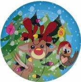 Kerst bord met rendier - kunststof - 25 cm