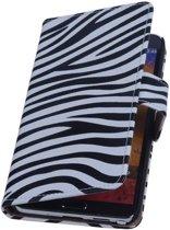 Mobieletelefoonhoesje.nl - Samsung Galaxy S2 Hoesje Zebra Bookstyle Wit