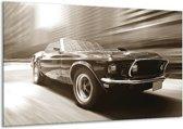 Schilderij   Canvas Schilderij Auto, Mustang   Sepia   120x70cm 1Luik   Foto print op Canvas