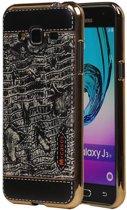 Samsung Galaxy J3 J300 Zwart   M-Cases Croco Design backcover hoes    WN™