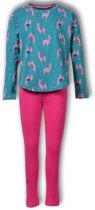 Woody pyjama meisjes - alpaca - groen - 192-1-ypa-z/977 - maat 176