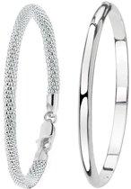 Lucardi - Zilveren set met twee armbanden