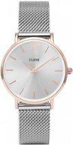 CLUSE CL30025 Minuit Mesh - Horloge - Staal - Grijs  - Ø 33 mm