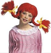 Rode pruik met vlechten voor meisjes - Verkleedpruik