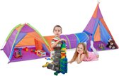 relaxdays Kindertent set met tunnel - indianentent - speeltent wigwam - speeltunnel
