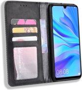 Huawei P Smart Plus 2019 Vintage Portemonnee Hoesje Zwart