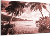 Glas schilderij Zee, Strand | Bruin, Rood | 120x70cm 1Luik | Foto print op Glas |  F006479