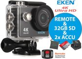 EKEN H9-R 4K Ultra HD by SensationMedia + Wifi + 23 access & 12MP foto met OmniVision Chipsensor 4689 + 32GB SD + Afstandbediening + Extra Accu