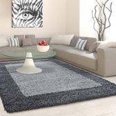 Hoogpolig shaggy vloerkleed 160cm rond grijs lijstmotief