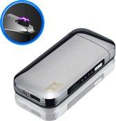 Elektrische Aansteker | USB oplaadbare plasma aansteker | Wind en Storm Bestendig | Plasma Aansteker | Zilver
