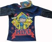 Donkerblauw shirt van Mike de Ridder maat 116/122, donkergrijze mouw
