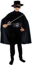 Compleet zwarte held kostuum voor kinderen 120-130 (7-9 jaar)