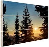 Zonsopkomst nationaal bos Hout 60x40 cm - Foto print op Hout (Wanddecoratie)