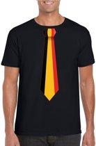 Zwart t-shirt met Belgie stropdas heren - Koningsdag / Belgie supporter M