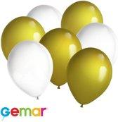 30x Ballonnen Wit en Goud (Ook geschikt voor Helium)