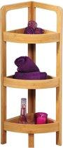 Badkamer Hoek kast FSC Bamboe met 3 Planken | Open opbergkast met 3 planken voor in de Hoek | Badkamerkast Opberg Rek | Hoek Kast meubel | Stellingkast | Afm. 77 x 23 x 23 Cm. | Kleur: Bamboe