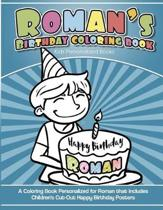 Roman's Birthday Coloring Book Kids Personalized Books