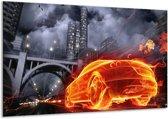 Glasschilderij Auto | Rood, Oranje, Zwart | 120x70cm 1Luik | Foto print op Glas |  F000799