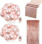 Verjaardag decoratie feestpakket - roze goud versiering - bruiloft, vrijgezellenfeest, sweet 16 en geslaagd - confetti ballonnen - sliertjes gordijn - rose gold