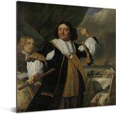 Portret van Aert van Nes - Schilderij van Bartholomeus van der Helst Aluminium 120x160 cm - Foto print op Aluminium (metaal wanddecoratie) XXL / Groot formaat!