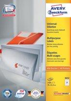 2x Avery witte etiketten QuickPeel 70x42,3mm (bxh), 2.100 stuks, 21 per blad, doos a 100 blad