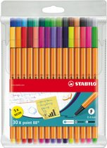 STABILO Point 88 Fineliner - Etui 25 stuks + 5 neon