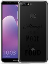 Huawei Y7 2018 Hoesje Mood for Food Black