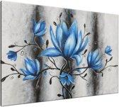 Schilderij handgeschilderd Magnolia   Blauw , Grijs   120x70cm 1Luik
