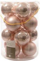Glas Kerstballen (80mm) Box 16 Stuks Poeder Roze