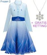 Frozen 2 Elsa jurk ster Deluxe 104-110 (110) + GRATIS ketting Prinsessen jurk verkleedkleding