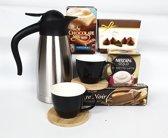 Kerstpakket - Kerst cadeau pakket - Kerst gift set - RVS koffiekan met kopjes en lekkernijen