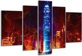 Glasschilderij Modern | Rood, Blauw, Rood | 170x100cm 5Luik | Foto print op Glas |  F004588