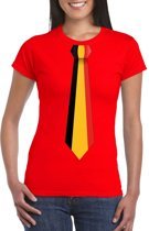 Rood t-shirt met Belgie vlag stropdas dames 2XL