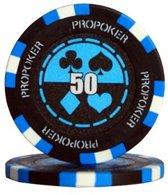 Pokerchip Pro Poker Clay Chip 13,5 Gram Licht Blauw 50 Per 25