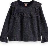 Scotch Rbelle Meisjes t-shirts & polos Scotch Rbelle Lurex long sleeve top with ruffle bi petrol 164
