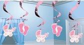 Roze Hangdecoratie Its a Girl - 5 stuks