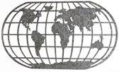 Wereldkaart Metaal - Grijs - 118x69cm