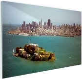 Alcatraz en de skyline van San Fransisco Glas 120x80 cm - Foto print op Glas (Plexiglas wanddecoratie)